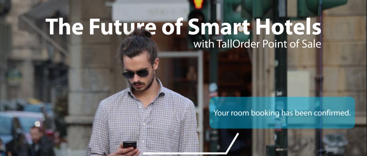 Smart hotels -man looking at phone